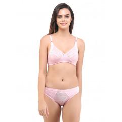 Bruna Rose Color Lycra Net Lingeries Set