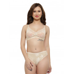 Claudia Skin Color Net Fabric Bridal Lingerie Set