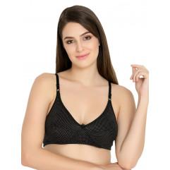 Pinky Black Color Non Padded Hesiery Regular Bra
